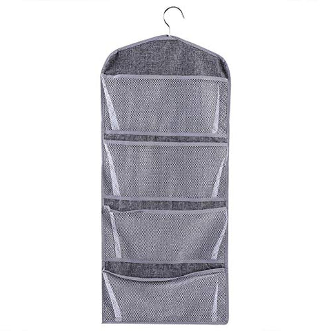 FTVOGUE Dual-Sided Multi-Pocket Hanging Closet Organizer Bra Underwear Stocking Sock Storage Bag Home Organizer with Hanger(01)