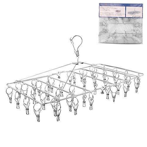 Rosefray Laundry Clothesline Hanging Rack for Drying, Sturdy 44 Clips,Handy Cloth Drying Hanger, Store Hats, Caps and Visors