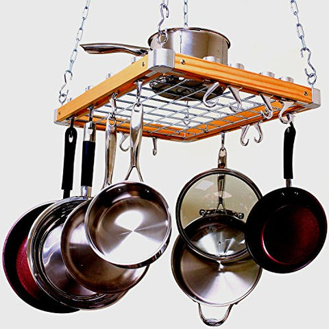 Hanging Pan Rack for Kitchen Utensils Organizer Pans Kitchenware Natural Wood & Aluminium Hardware Storage Decorative Square Shaped Practical with Hanging Hooks & eBook by Easy&FunDeals