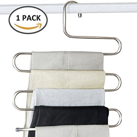 Happyyous Stainless Steel S-Shaped Pants Hanger,S-Type 5 Layers Metal Slack Trousers Holder -Closet Storage Space Saving for Clothes Jeans Scarf Tie Towel Rack