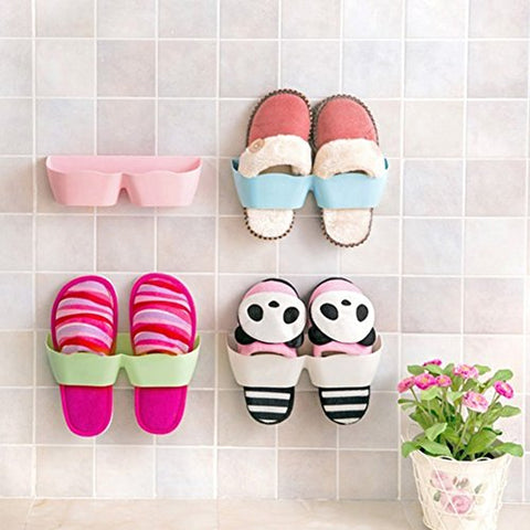 GEZICHTA Home Wall Self Adhesive Shoes Organizer,Shoe Storage Holder,Back Door Sticky Rack Shelf Wall-Mounted Slipper Holder (random color)
