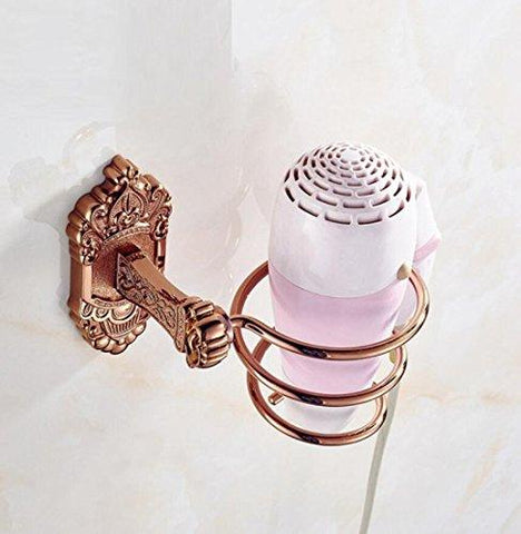 GL&G European High-end Spiral Hair Blow Dryer Stand Wall Mount Hair Dryer Hanging Rack Organizer Bathroom Accessories Rose gold Space Saving Design