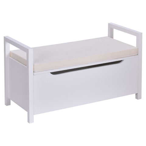 Giantex Storage Bench Shoes Rack W/Removable Seat Cushion Entryway Shoe Cabinet Storage (White)
