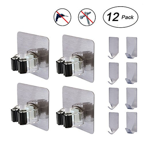 Broom and Mop Hangers, Flecom Mop Holder with Adhesive Hooks Heavy Duty Hangers for brooms Wall Hooks Waterproof Wall Hangers for Kitchen Bathroom Wardrobe and Home (12 Pack)