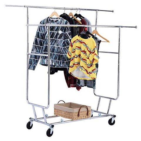 BeUniqueToday Double Commercial Collapsible Clothing Rolling Garment Rack, Heavy Duty Laundry Hanger With Double Collapsible Rolling Garment Rack, Attractive & Functional Garment Clothing Rolling Rack