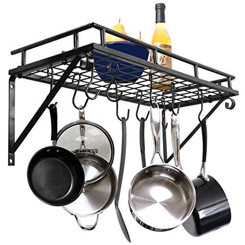 ZenChef Wall Mounted Square Pot Pan Rack with 10 Hooks, Multi-Purpose Organizer for Home, Restaurant, Kitchen Cookware, Utensils, Books, Household
