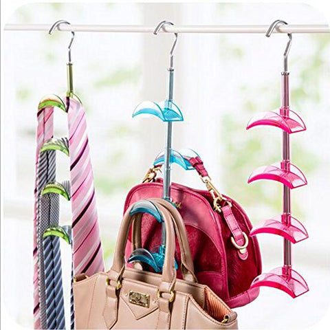 Homieco™ Bag Storage Racks Rotatable Bag Hanger Wardrobe Hangers Strong Necktie Belt Hooks Hand Bag Holder Hook