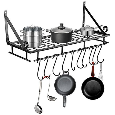 Pots and Pan Rack,Wall-Mounted Hanging Pans Storage Rack with 10 Hook Holder, Multi-Purpose Shelf Organizer Great for Kitchen Cookware, Utensils, Pans, Books, Household Items, Bathroom