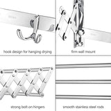 Merya Folding Clothes Drying Rack Wall Mount, Retractable 304 Stainless Steel Laundry Drying Rack/Bathroom Towel Rack with Hooks, Rustproof Space-Saving Clothes Hanger Rack for Indoor Outdoor Use