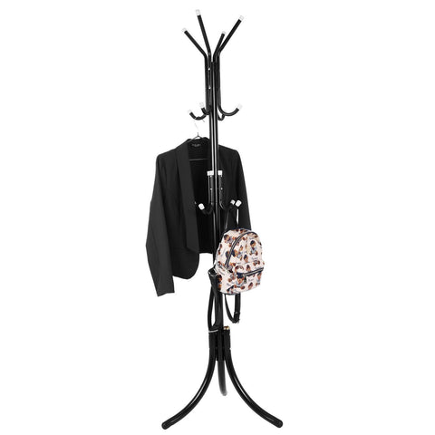 Fashine Metal Entryway Coat Rack Hat Hanger Holder Display Stand Hall Tree with 12 Hooks, Tripod Base for Umbrella Purse Handbag Jacket Scarf (US Stock) (Black)