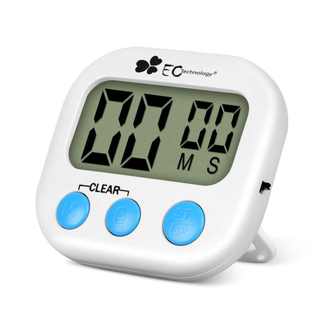 Countdown Timer, EC Technology Digital Kitchen Timer with Larger LCD Display& Loud Alarm System, Magnet, Retractable Stand, Hook for Hanging, for Kitchen/Cooking/Baking/Sports/Games/Office –White