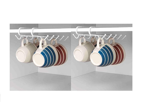 Deluxe Under the Shelf 2pc Mug Organizer Rack 20 Hooks, White