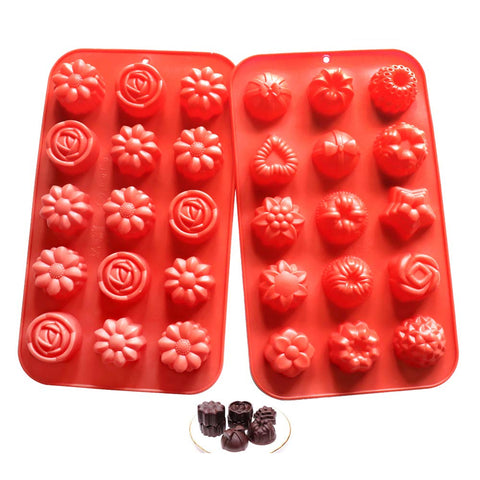Flower Soap Molds Candy Molds Silicone Molds Chocolate Molds Jello Molds Biscuit Cake Baking Mold Ice cube Tray Muffin Pan, 15 Cavity set of 2 pack