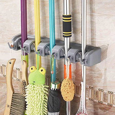 ULIFESTAR Mop Broom Holder Organizer w/Storage Hooks Hanger for Hanging, Wall Mounted Garden Garage Tool Rack for Kitchen,Basement or Laundry Room Organization (5 Position 6 Hooks)