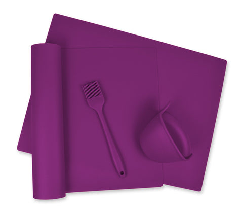 DII Kitchen Millennium, 4-Piece, Heat Resistant, Seamless, Non Stick, Dishwasher Safe, BPA Free, Silicone Kitchen Baking Set, Includes 2 Baking Mats, 1 Oven Gripper & 1 Basting Brush- Purple
