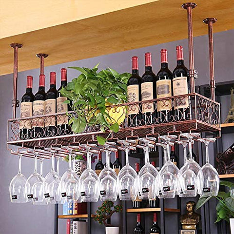FURVOKIA Industrial Vintage Bar Floating Shelf,Under Shelve Hanging Rack,Retro Iron Upside Down Stemware Goblet Wine Glass Holder,Restaurant or Cafe Tableware Bottle Storage (Red Copper, 47.2 L)