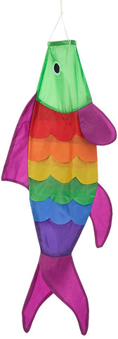 40-inch Rainbow Fish Windsock with Purple fins -- Includes hanging clip.