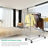 TomCare Garment Rack Double Clothes Racks Ajustable Clothing Rack Extensible Clothes Hanging Rack Commercial Grade Garment Rolling Racks for Hanging Heavy Duty Stainless Steel Garment Rack on Wheels
