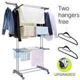 3 Tier Rolling Clothes Drying Rack Clothes Garment Rack Laundry Rack with Foldable Wings Shape Indoor/Outdoor Standing rack Stainless Steel Hanging Rods - Gray & Electroplate (Gray)