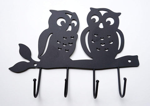 Zoohu Black Owl Wall Mount Key Holder, Key Hooks, Key Rack, Hook Rack