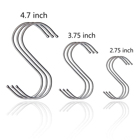 3.75 inch S Shaped Hooks Stainless Steel Polished - S Hooks Large Heavy Duty Brushed Metal Round Hanging Hooks Installation Designed Rganizing Utensils Kitchen Tools for Pots Pans Etc (silver)