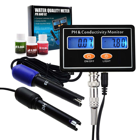 Gain Express PH & EC Conductivity Monitor Meter Tester Plug-in ATC, Water Quality Real-time Continuous Monitoring, Wall Mountable & Rechargeable, for Aquaculture, Aquarium, Pond, Hydroponics