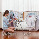 soges Folding Clothes Drying Rack, Stainless Steel Laundry Rack Dry Hanger Stand with Shoe Rack, Easy Storage, Indoor Outdoor Use, KS-K8008
