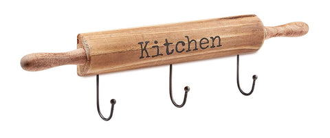 AdirHome Kitchen Utensil & Pot Hook Rack (Wood)