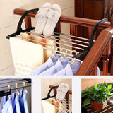 Candumy Folding Laundry Towel Drying Rack Balcony Windowsill Fence Guardrail Corridor,Stainless Steel Retractable Clothes Hanging Racks with Clips for Drying Socks(Set of 2)