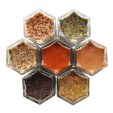 Carnivore Kit: 7 Magnetic Jars Filled with Organic Herbs & Spices for Meat Lovers. Magnetic Spice Rack by Gneiss Spice. (Silver Lids)