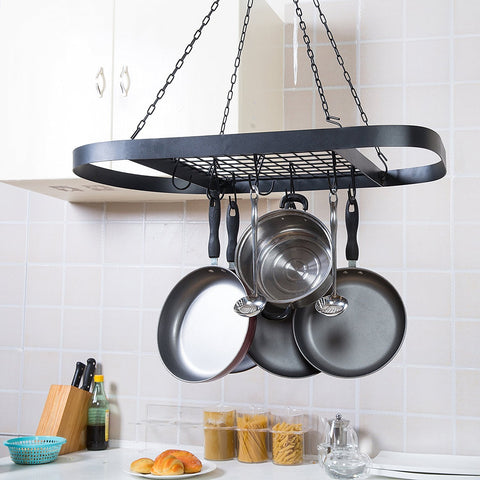 Black Metal Ceiling Mounted Oval Pot Rack, Hanging Cookware Organizer with Wire Grate Shelf