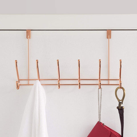 Home Basics 6 Hook Over the Door Hanging Rack for Bathroom, Bedroom or Closet Hanging Coat, Robes, Hats, Bags & Towel, Rose Gold