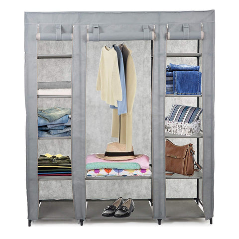 "Dporticus 59"" Clothes Closet Portable Storage Organizer with Hanging Rod, Nonwoven Fabric, 12 Storage Shelves-Grey"