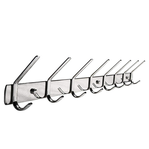 Hat and Coat Hook, WEBI SUS304 Heavy Duty 8-peg Robe Bath Kitchen Towel Utensil Utility Garment Rack Hanger Rail Holder, Wall Mount Bedroom Entryway Garage Bathroom Home Organization Storage, Polished