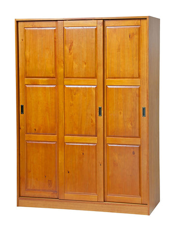"100% Solid Wood 3-Sliding Door Wardrobe/Armoire/Closet/Mudroom Storage by Palace Imports 5674 Honey Pine, 52""w x 72""h x 22.5""d. 1 Large/4 Small Shelves, 1 Rod Included. Extra Shelves Sold Separately."
