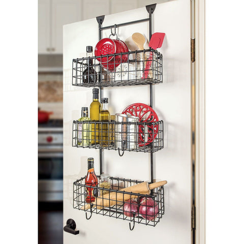 Giftburg Handcrafted 3 Basket Wrought Iron Grid Over the Door Organizer, Black