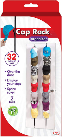 Cap Rack 4 Pack - Holds up to 16 Caps for Baseball Hats, Ball Caps - Best Over Door Closet Organizer for Men, Boy or Women Hat Collections - Display Racks With Clips, Perfect Holder and Storage