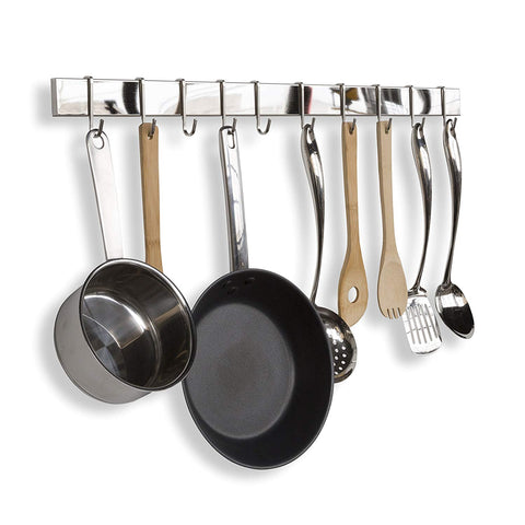 Stainless Steel Gourmet Kitchen Bar Rail Pot Rack for Pans Lids Wall Mount Hanging Utensil Organizer and Many More 30 Inch Silver (1)