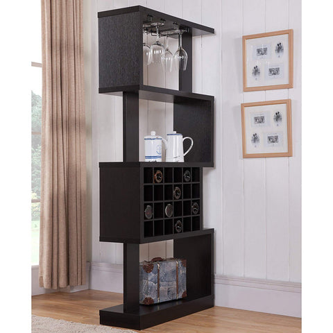 Darlene Tall Cappuccino 4-tier Geometric Wine Stand/ Room Divider w/ Hanging Stemware Racks on Top Shelf
