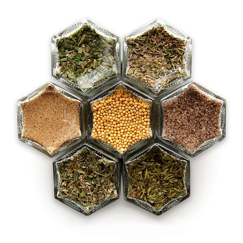 Gneiss Spice French Kit: 7 Magnetic Jars Filled with Organic Frech Herbs & Spices (Silver Lids)