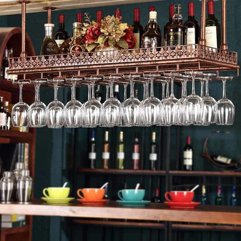 Warm Van Industrial Vintage Metal Bar Wine Glass Hanging Rack,Retro Upside Down Stemware Goblet Wine Glass Holder,Tableware Bottle Floating Shelf for Home Kitchen (Bronze, 47.2''L)