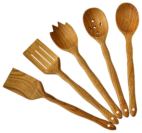 "Handmade Utensil Set. Wooden Cute Kitchen Utensils Set 14""/35 cm. Walnut Wood Kitchen Supplies & Utensils Big Set of 5"