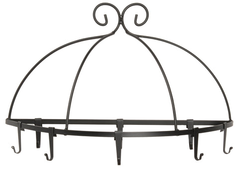 WALL MOUNT POT RACK ~ Large Wrought Iron Holder with 8 Scroll Hooks USA