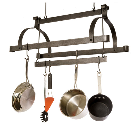Three Bar Ceiling Pot Rack Hammered Steel