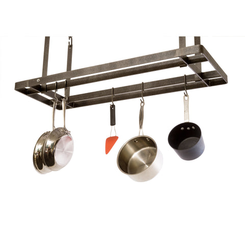 All Bars Ceiling Pot Rack w/ 12 Hooks Hammered Steel