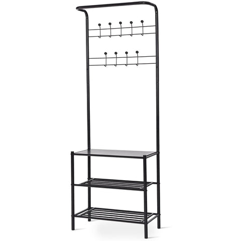 3-Tier 18 Hooks Metal Entryway Garment Rack