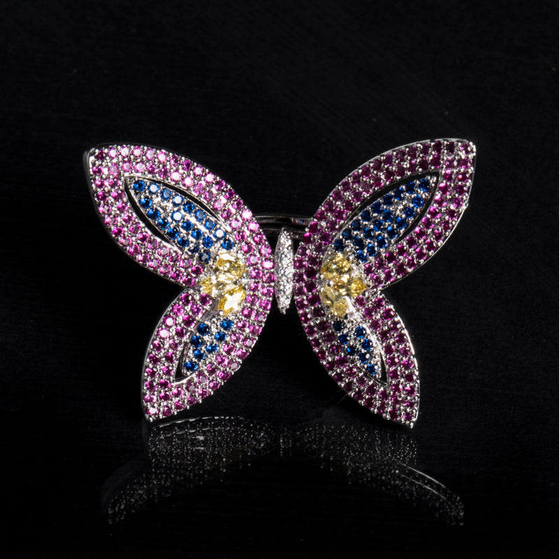 Multi Colored Stone Butterfly Ring