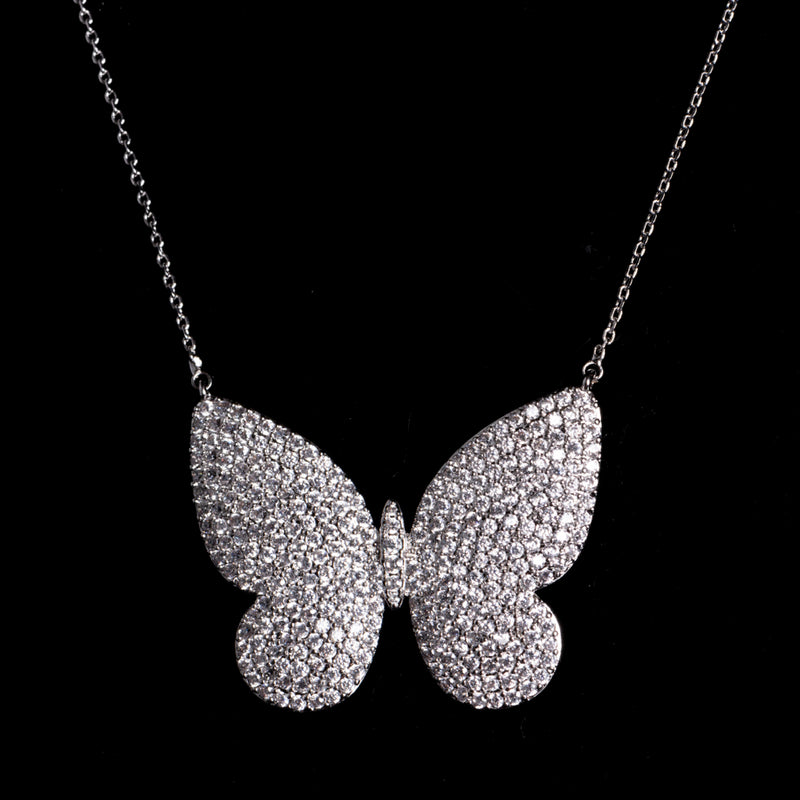Butterfly Pendant with Pave Crystals