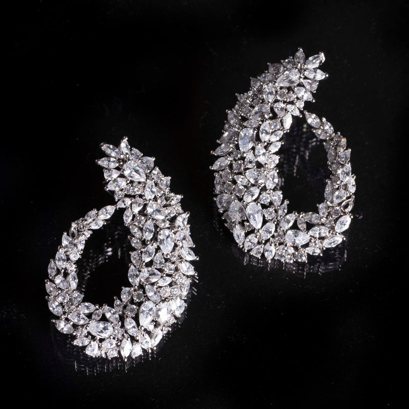 Evening Teardrop CZ Earrings
