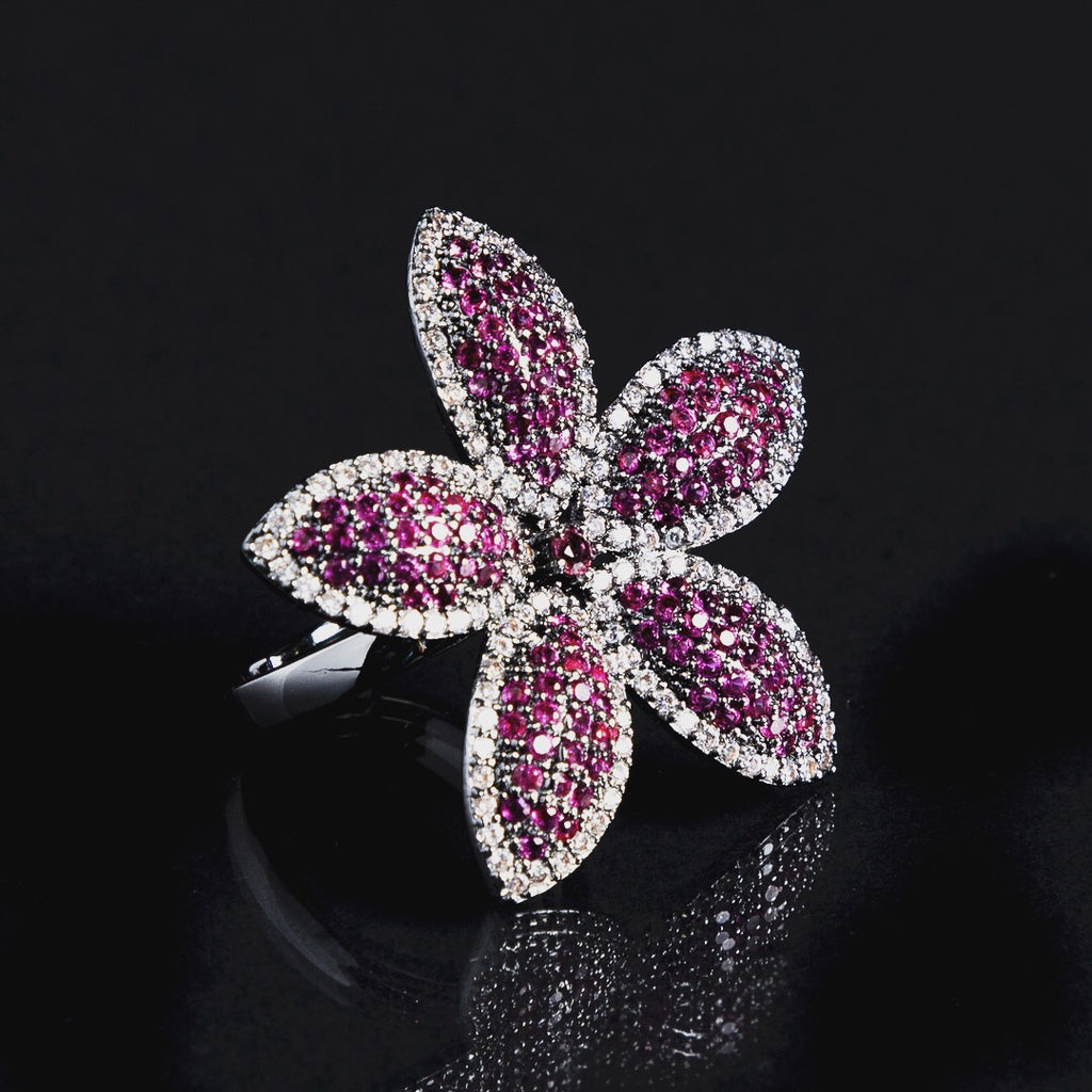 Pink Adjustable Flower Ring